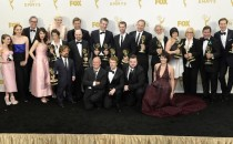 Cast and crew members of 'Game of Thrones' winners of Outstanding Drama Series pose in the press room at the 67th Annual Primetime Emmy Awards at Microsoft Theater on September 20, 2015 in Los Angeles