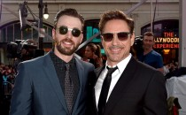 Actors Chris Evans (L) and Robert Downey Jr. attend the premiere of Marvel's 'Captain America: Civil War' at Dolby Theatre on April 12, 2016 in Los Angeles, California.