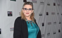 Honoree Carrie Fisher attends the US-Ireland Aliiance's Oscar Wilde Awards event at J.J. Abrams' Bad Robot on February 19, 2015 in Santa Monica, California.