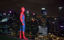 Spider-Man looks out over Singapore during his visit to the 'Spider-Man: Homecoming' red carpet fan event at Marina Bay Sands on June 7, 2017 in Singapore.