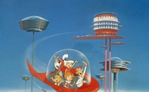 The Jetson family wave as they fly past buildings in space in their spaceship in a still from the animated television series, 'The Jetsons,' circa 1962.