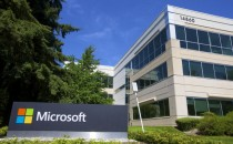 A building on the Microsoft Headquarters campus is pictured July 17, 2014 in Redmond, Washington.