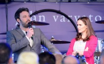 Actor/director Ben Affleck and actress Jennifer Garner speaks onstage at the John Varvatos 10th Annual Stuart House Benefit presented by Chrysler, Kids Tent by Hasbro Studios.