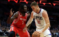 Montrezl Harrell #5 of the Houston Rockets defends against Blake Griffin #32 of the LA Clippers during the second half of a game at Staples Center on April 10, 2017 in Los Angeles, California.
