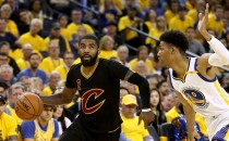 Kyrie Irving #2 of the Cleveland Cavaliers drives with the ball against Patrick McCaw #0 of the Golden State Warriors in Game 5 of the 2017 NBA Finals at ORACLE Arena on June 12, 2017 in Oakland, Ca.