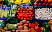 Fruits and vegetables in a market stall