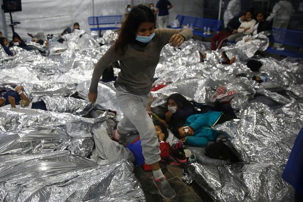Migrants at the facility