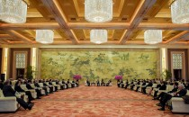 General view of the meeting between Chinese Premier Li Keqiang (C) with Global 500 enterprises' heads at China Development Forum at Diaoyutai State Guesthouse on March 20, 2017 in Beijing, China.