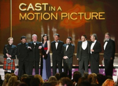 Winner for Best Cast in a Motion Picture, the cast of 'Lord of the Rings: Return of the King' speaks onstage during the 10th Annual Screen Actors Guild Awards at the Shrine Auditorium on February 22.