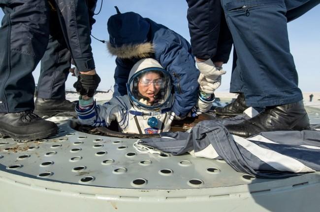 Landing of the Russian Soyuz MS-13 space capsule in a remote area southeast of Zhezkazgan in the Karaganda region of Kazakhstan