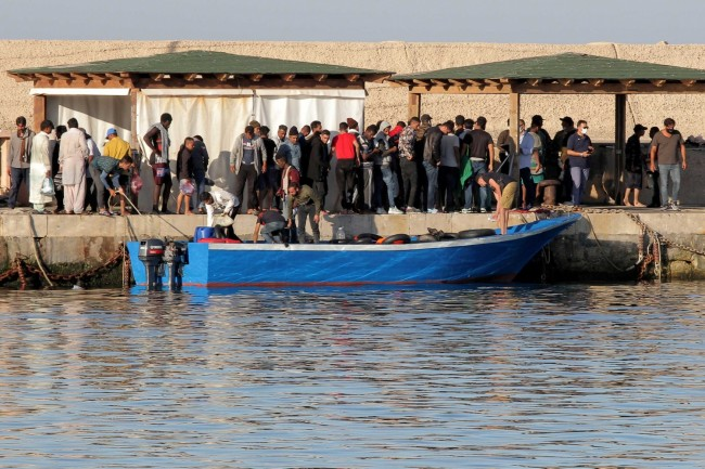 Migrants arrive on Lampedusa Island