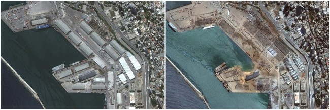 A satellite image shows the port of Beirut before and after an explosion