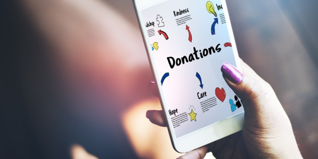 Person holding mobile donation page - stock image