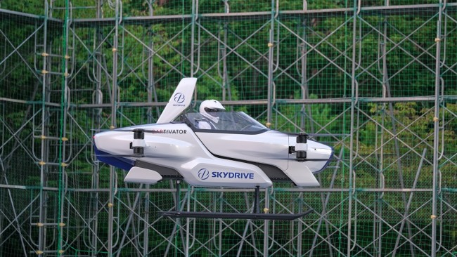 Handout photo shows a manned flying car SD-03 is seen during a test flight session at Toyota test field in Toyota, central Japan