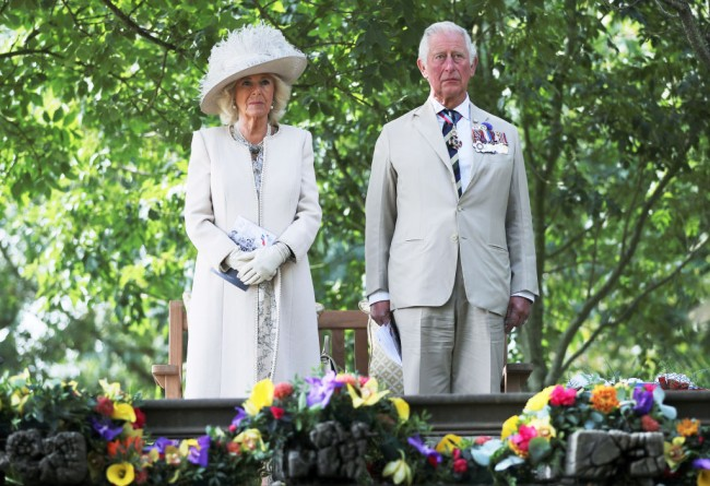 The Prince Of Wales And The Duchess Of Cornwall Attend A National Service Of Remembrance Marking The 75th Anniversary Of VJ Day