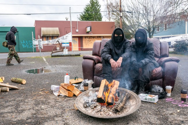 Protesters Set Up A Barricade In Portland To Prevent Eviction