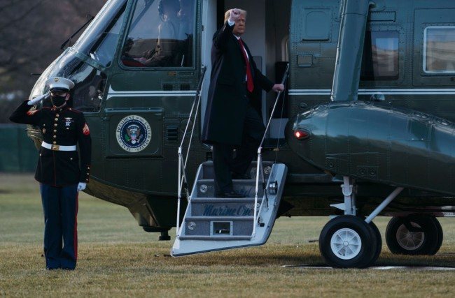 President Trump Departs White House For Final Time In His Presidency