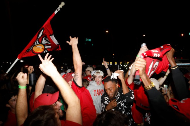 Football Fans Gather In Tampa To Watch To Super Bowl LV Between The Tampa Bay Buccaneers And The Kansas City Chiefs