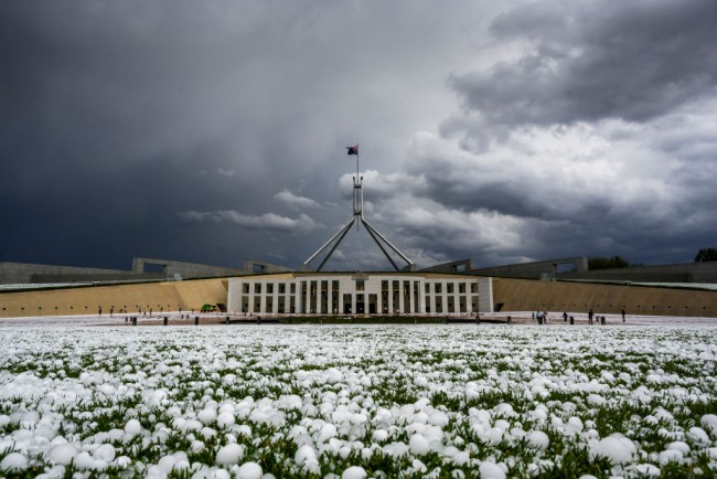 Storm Across South Eastern Australia Bring Hail In Canberra