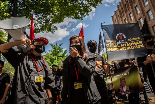Demonstrators Gather In Tokyo To Protest The Myanmar Coup