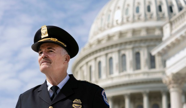 Incoming U.S. Capitol Police Chief Thomas Manger Is Sworn In On The Capitol Steps