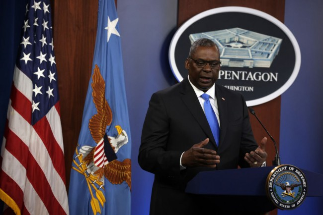 Defense Secretary Lloyd Austin And Joint Chiefs of Staff Chairman Gen. Mark Milley Hold Briefing At Pentagon