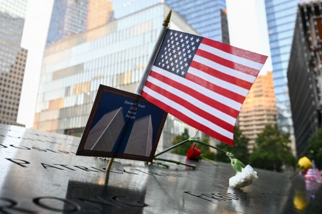 20th Anniversary 9/11 Memorial of the Twin Towers Vandalized With Word 'Taliban'